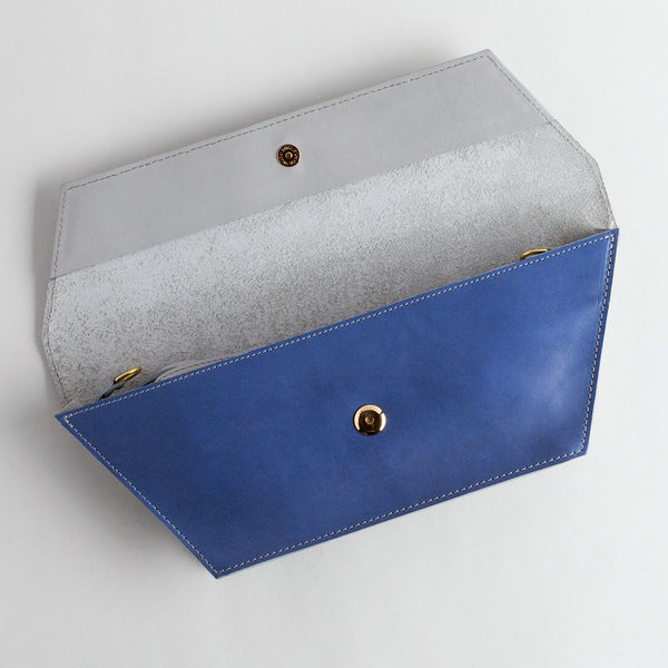 blue & grey leather dory clutch-accessories - handbags & clutches-eklund griffin-k colette