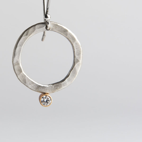 hammered hoop & diamond earrings-accessories - jewelry-lisa gent jewelry-k colette