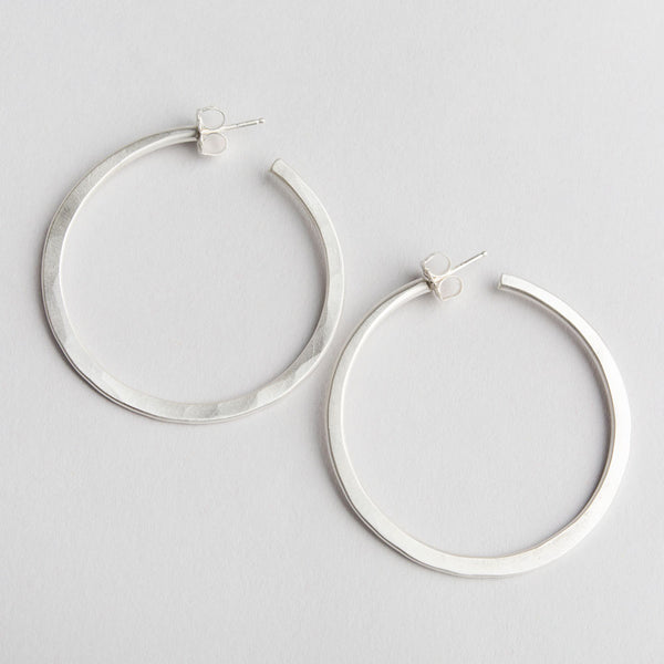 large organic fine silver hoops-accessories - jewelry - maine-lisa gent jewelry-k colette