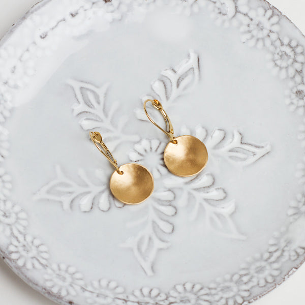 tiny gold disk earrings-accessories - jewelry-lisa gent jewelry-Gold-k colette