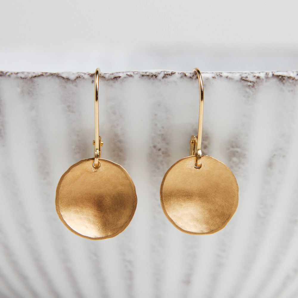 tiny gold disk earrings-accessories - jewelry - maine-lisa gent jewelry-k colette