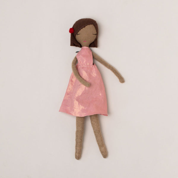 pink dress luna rag doll, small-baby - toys-susu littles-k colette