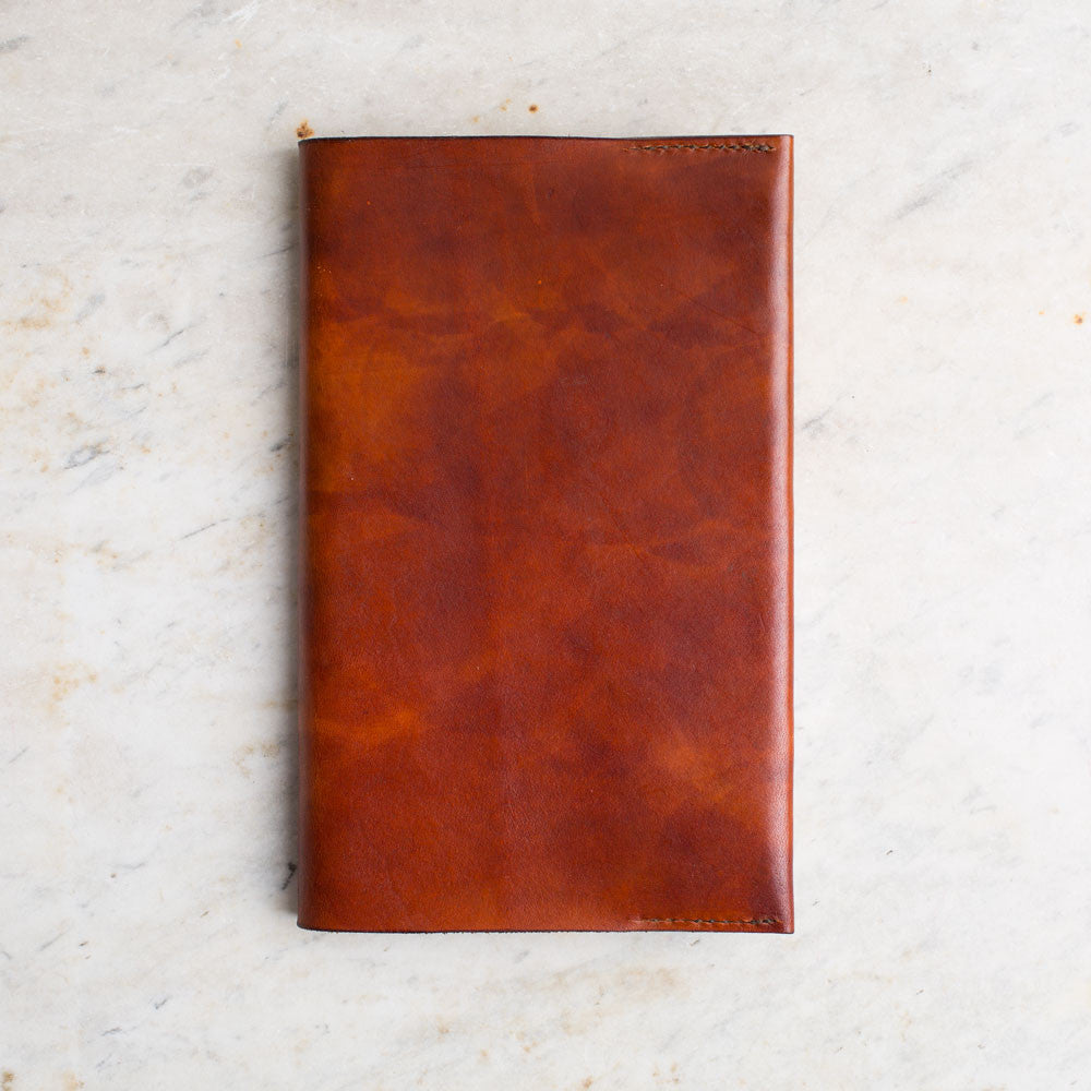leather covered journal-desktop - journals-a.b.k.-light brown-k colette