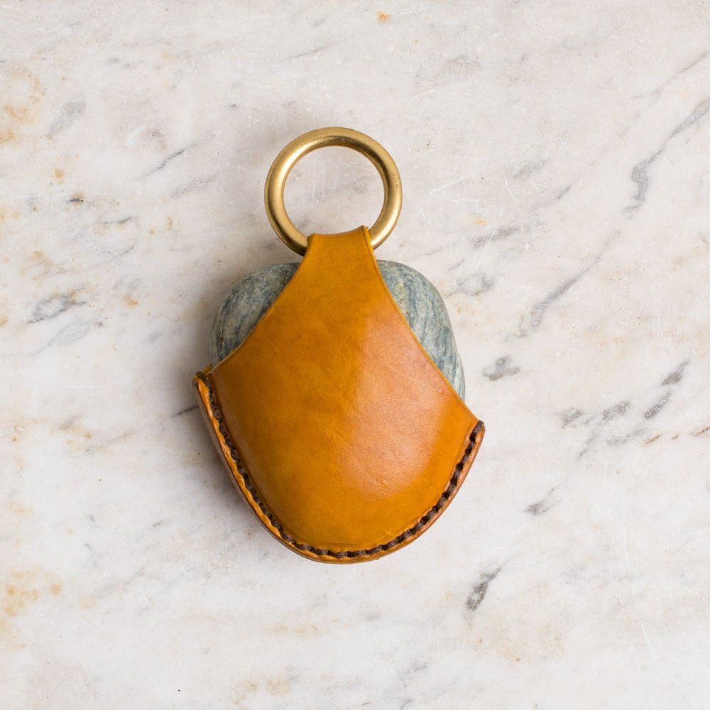 leather wrapped rock keychain-accessories - handbags & clutches-a.b.k.-yellow-k colette