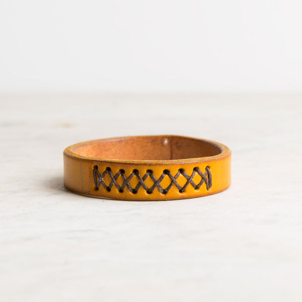 cross stitch leather bracelet-accessories - jewelry-a.b.k.-orange-18.5 cm-k colette