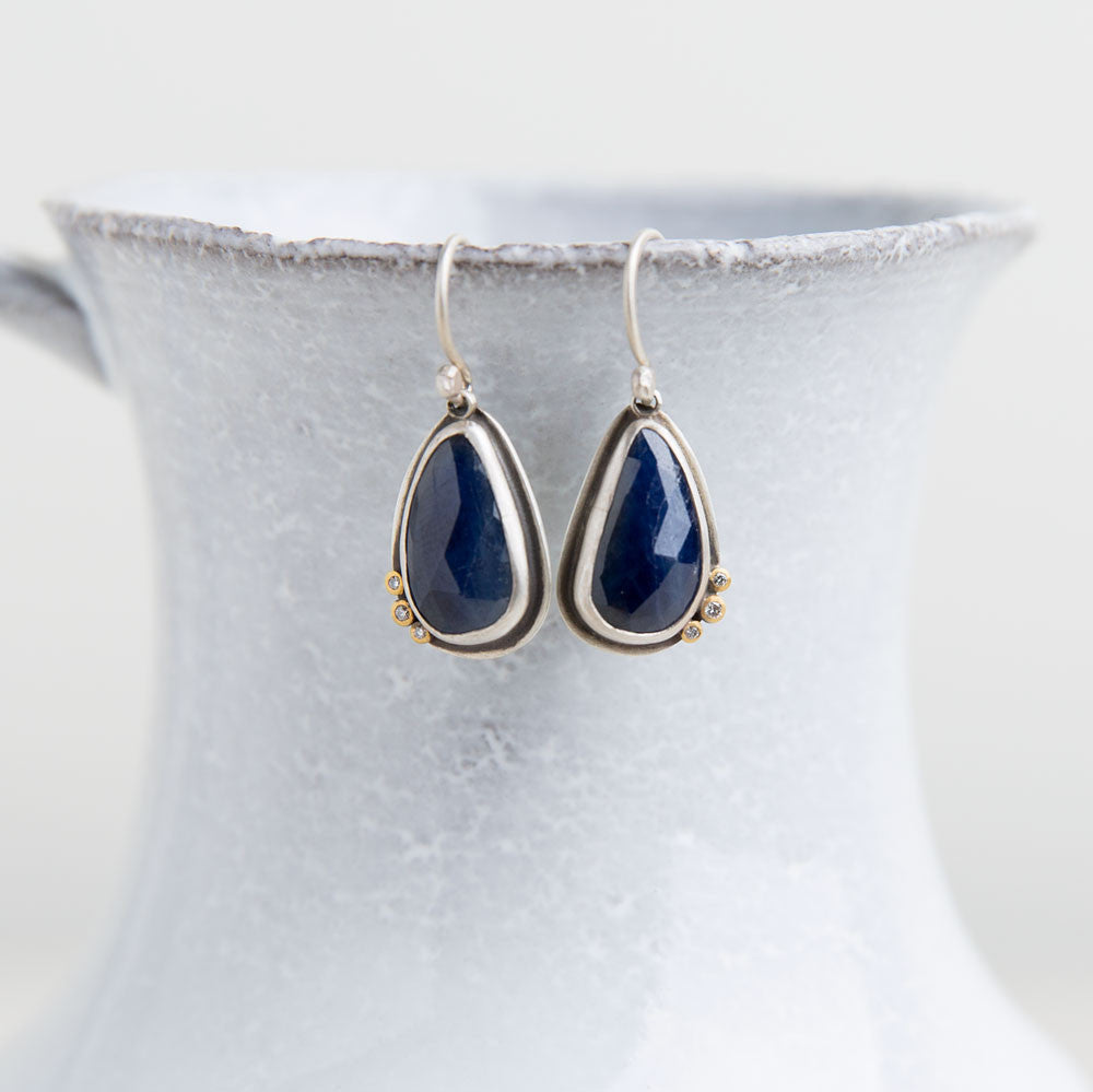 blue sapphire earrings with diamond dots-accessories - jewelry-ananda khalsa-k colette