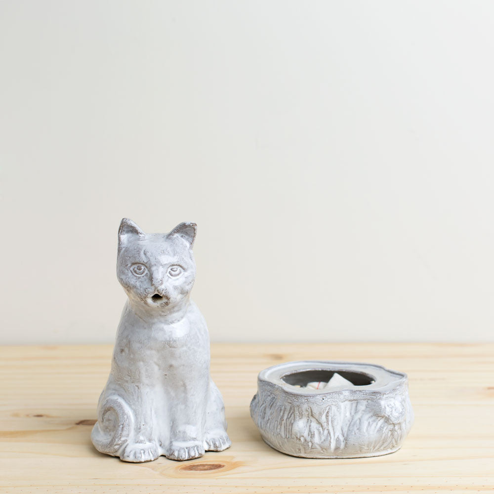 setsuko cat incense burner-candles - room sprays & diffusers - art & decor - decorative objects-astier de villatte-Default Title-k colette