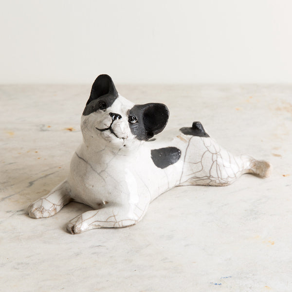ceramic french bulldog, laying down-art & decor - decorative objects-atelier du douire-k colette