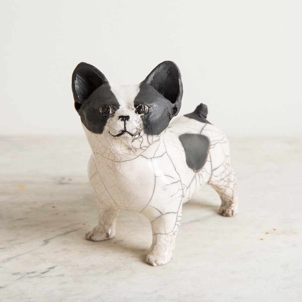 ceramic french bulldog, standing-art & decor - decorative objects-atelier du douire-k colette