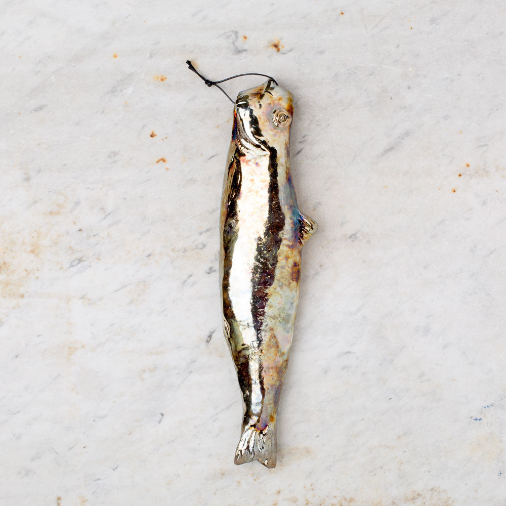 metallic herring ceramic fish-art & decor - decorative objects-atelier du douire-k colette