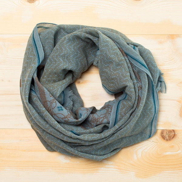 karoly wool scarf-accessories - scarves-anna kaszer-blue/green-k colette