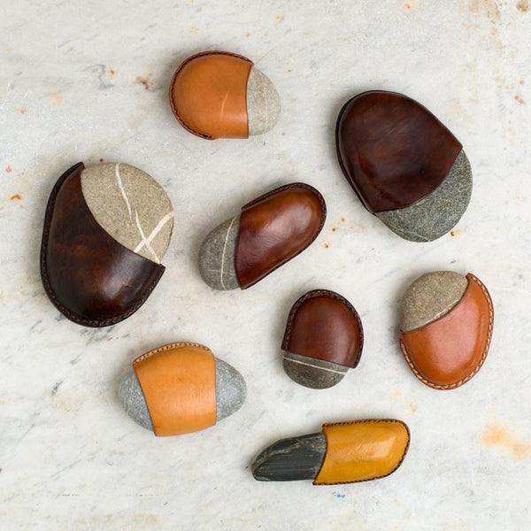 leather wrapped rock paperweight-desktop - paperweights-a.b.k.-k colette