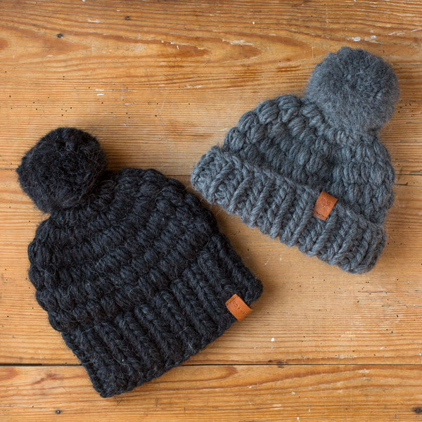 chunky crocheted hat-accessories - hats & gloves-sien + co-charcoal-k colette