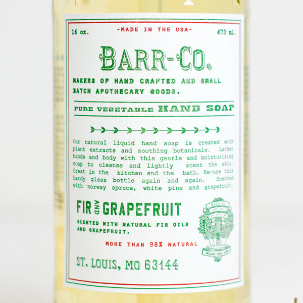 fir & grapefruit liquid soap-holiday - apothecary - soaps & lotions-barr-co. by k hall designs-k colette