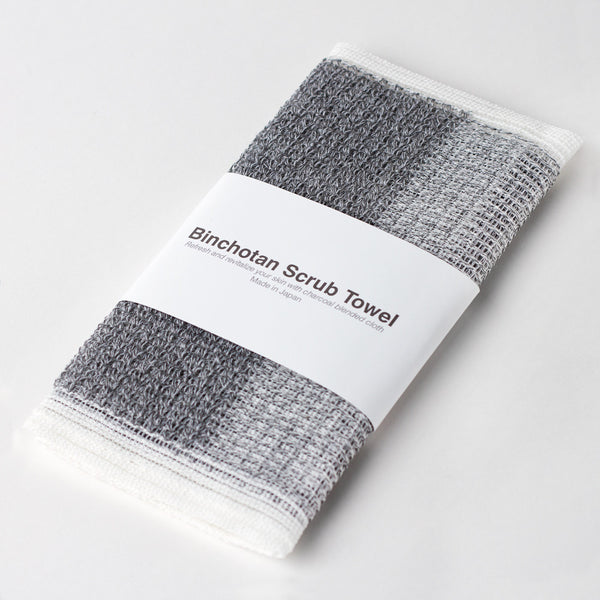 charcoal body scrub towel-bed & bath - bath towels - stocking-binchotan charcoal by morihata-k colette