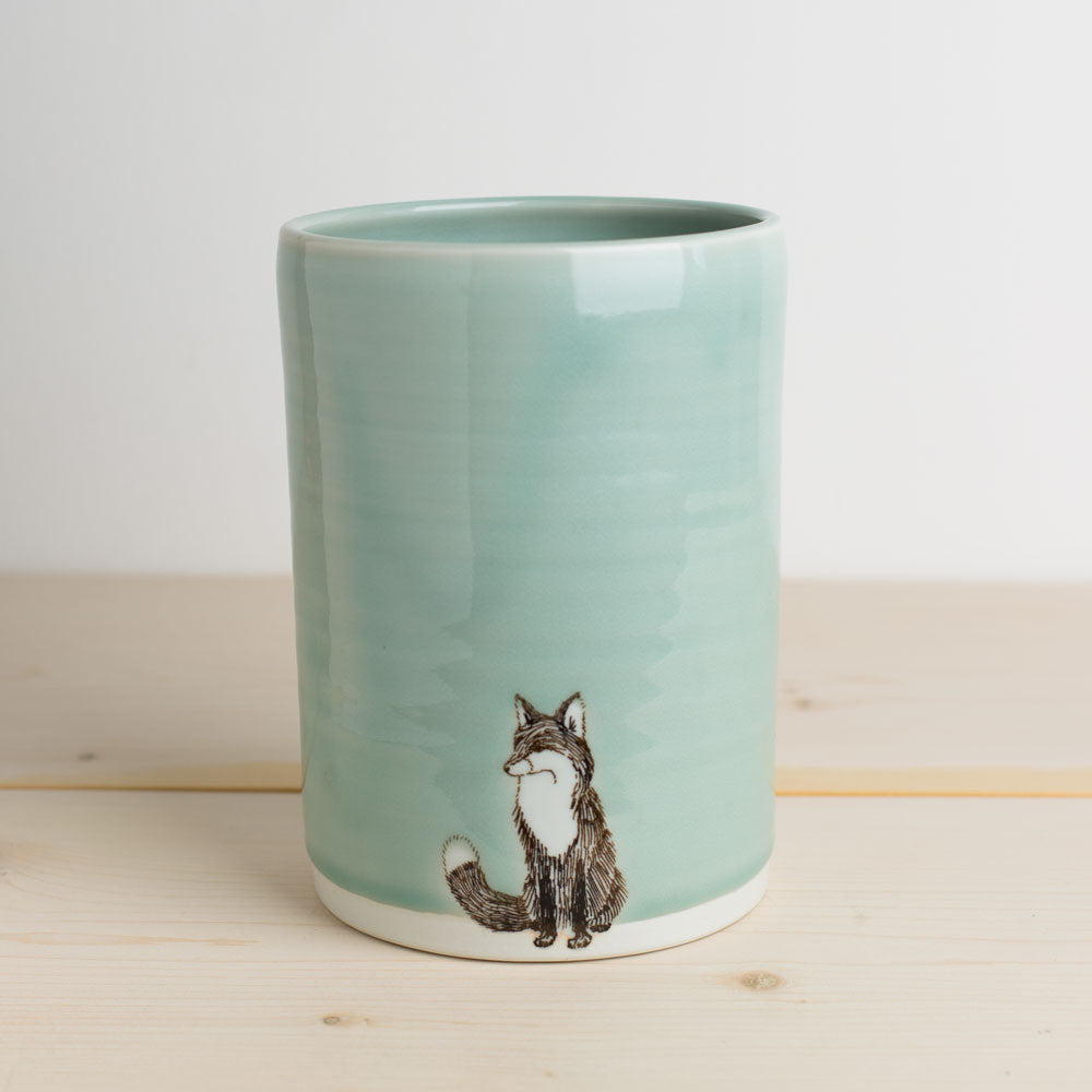 illustrated vase-art & decor - vases-skt ceramics-celadon fox-k colette