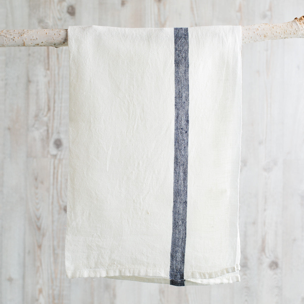 laundered linen stripe tea towel-kitchen & dining - tea towels & aprons-couleur nature-white + indigo stripe-k colette