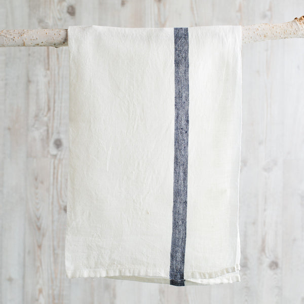 laundered linen stripe tea towel-kitchen & dining - tea towels & aprons-couleur nature-k colette
