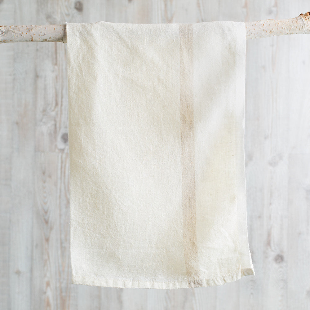 laundered linen stripe tea towel-kitchen & dining - tea towels & aprons-couleur nature-white + natural stripe-k colette