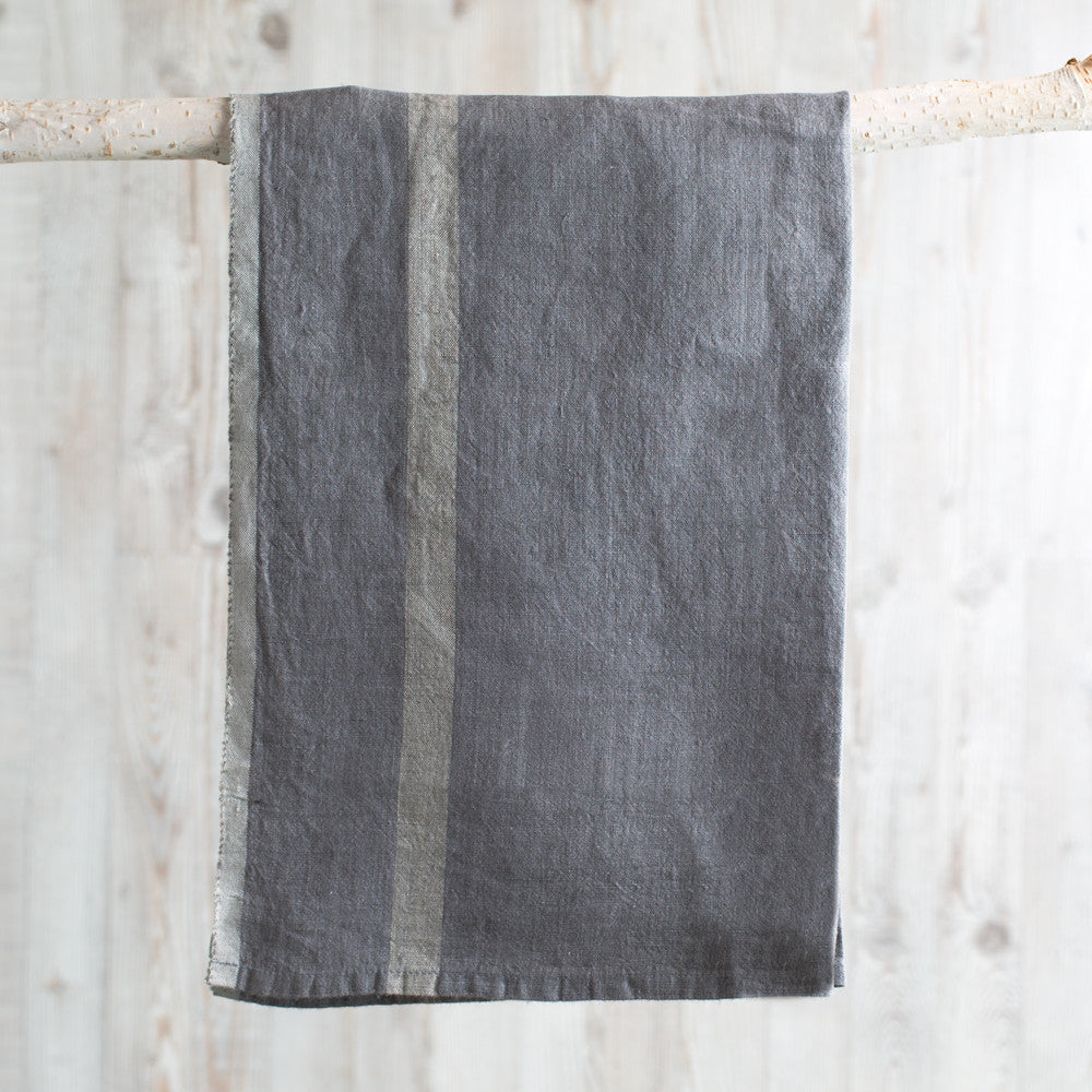 laundered linen stripe tea towel-kitchen & dining - tea towels & aprons-couleur nature-grey + natural stripe-k colette
