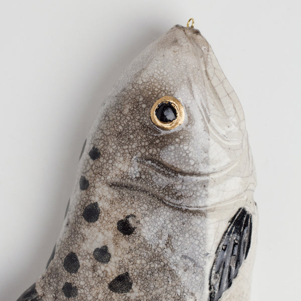 salmon ceramic fish-art & decor - decorative objects-atelier du douire-k colette