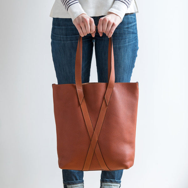 leather infinity tote, cognac-accessories - handbags & clutches - maine-eklund griffin-k colette