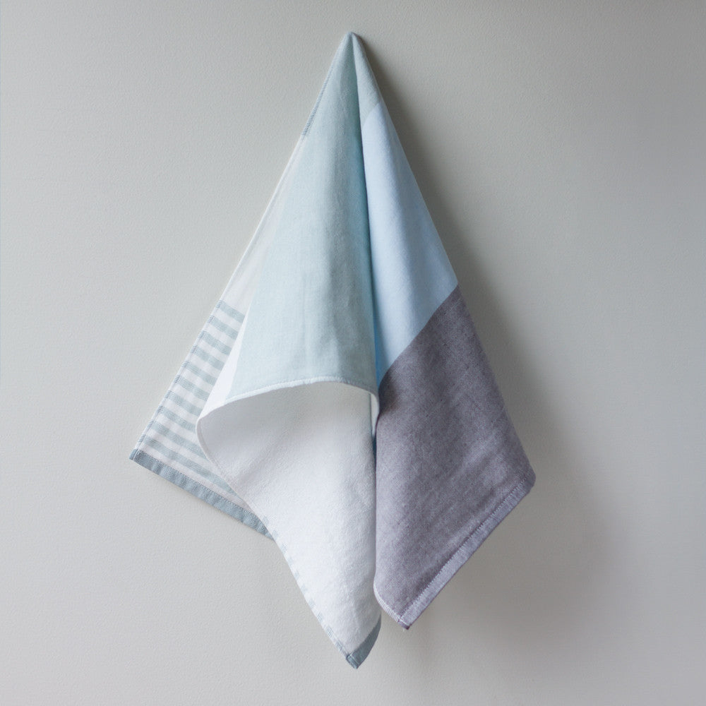 tricolor chambray hand towel-bed & bath - bath towels-yoshii by morihata-grey-k colette