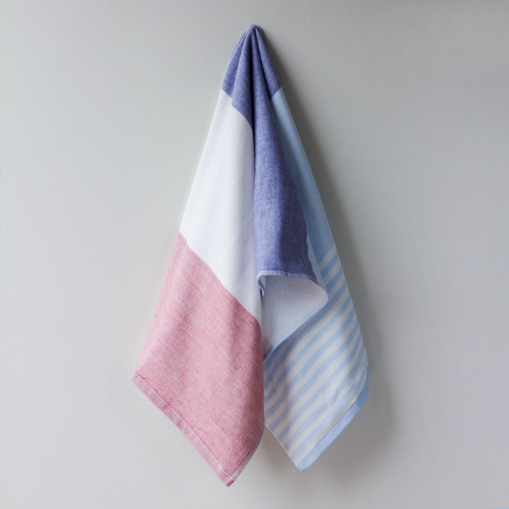 tricolor chambray hand towel-bed & bath - bath towels-yoshii by morihata-traditional-k colette