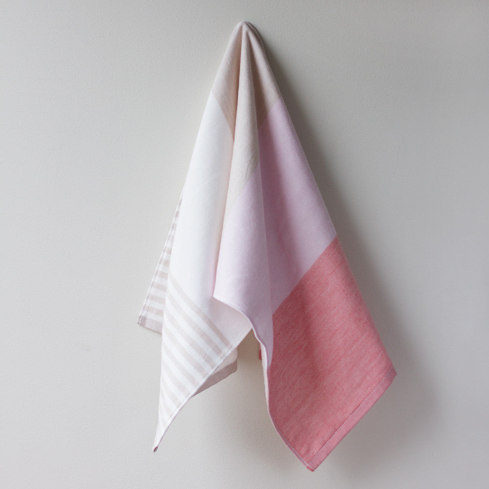 tricolor chambray hand towel-bed & bath - bath towels-yoshii by morihata-pink-k colette