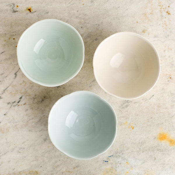 dimpled porcelain dessert bowl-kitchen & dining - dinnerware - maine-autumn cipala pottery-k colette