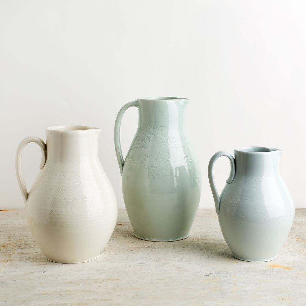 porcelain pitcher with etching-kitchen & dining - serveware-autumn cipala pottery-celadon-medium-k colette