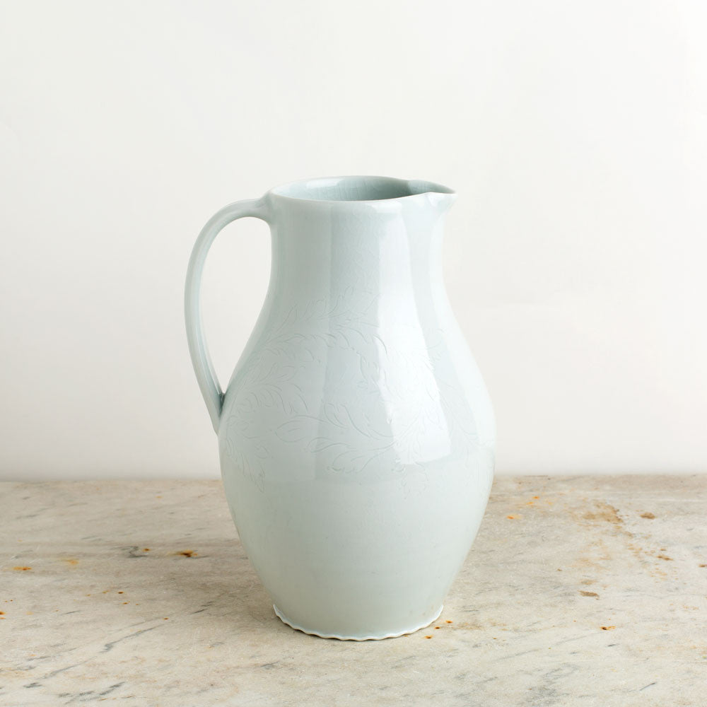 porcelain pitcher with etching-kitchen & dining - serveware-autumn cipala pottery-dove-large-k colette