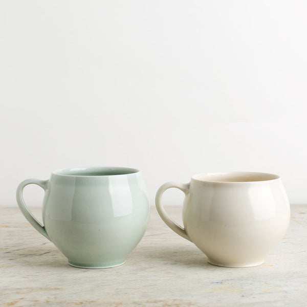 porcelain tea cup with handle-kitchen & dining - bar & drinkware-autumn cipala pottery-celadon-k colette