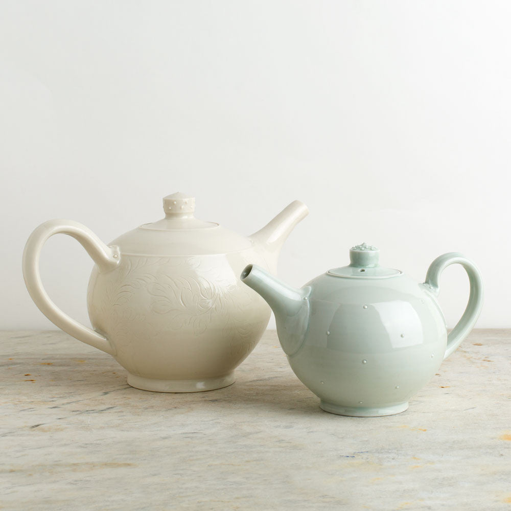 porcelain teapot-kitchen & dining - serveware-autumn cipala pottery-celadon-two cup-k colette