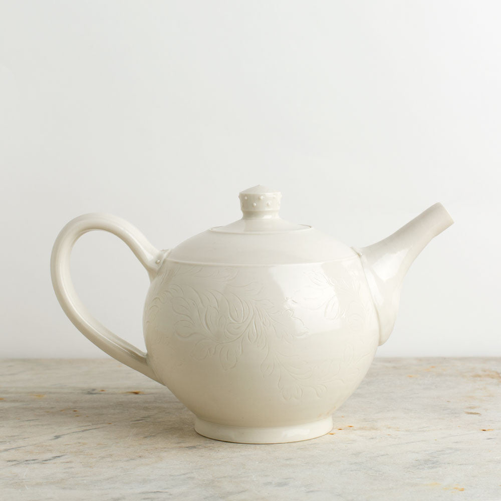 porcelain teapot-kitchen & dining - serveware-autumn cipala pottery-ivory-two cup-k colette