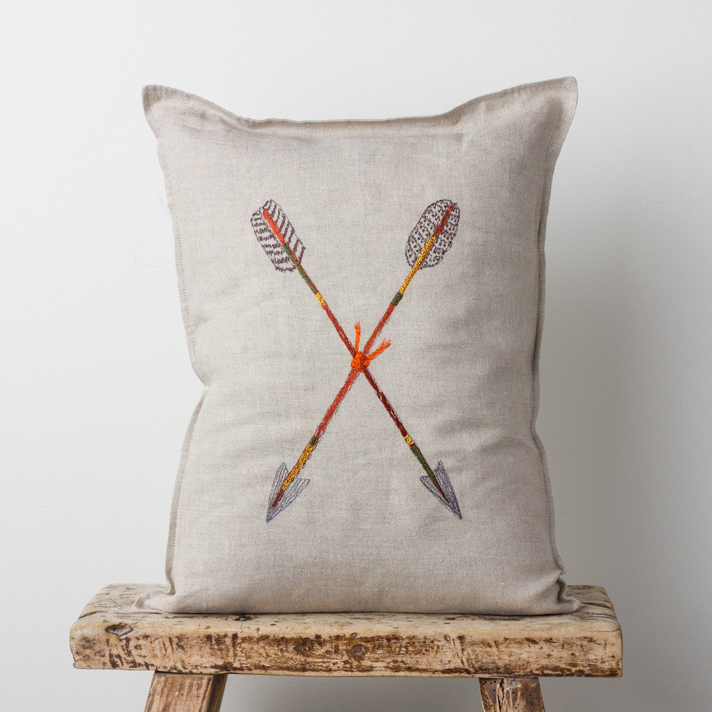 crossed arrows pillow-bed & bath - decor - pillows-coral & tusk-k colette