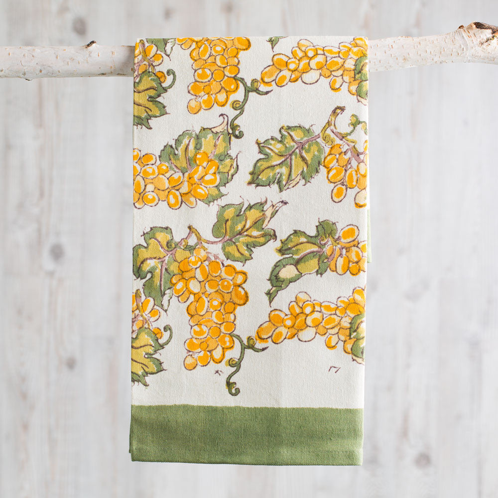 grapevines tea towel, yellow/green-kitchen & dining - tea towels & aprons-couleur nature-k colette