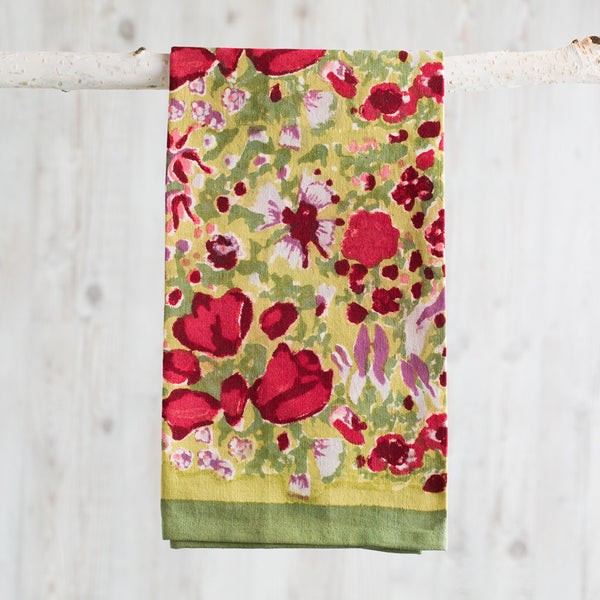 jardin red & green towel-kitchen & dining - tea towels & aprons-couleur nature-k colette