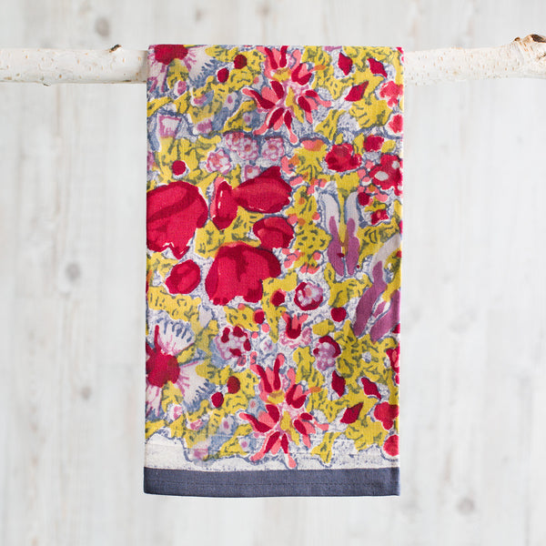 jardin red & grey tea towel-kitchen & dining - tea towels & aprons-couleur nature-k colette
