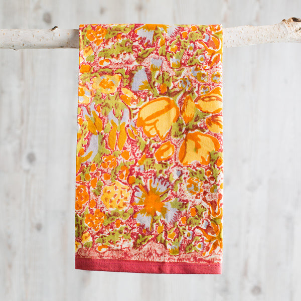 jardin yellow & red tea towel-kitchen & dining - tea towels & aprons-couleur nature-k colette