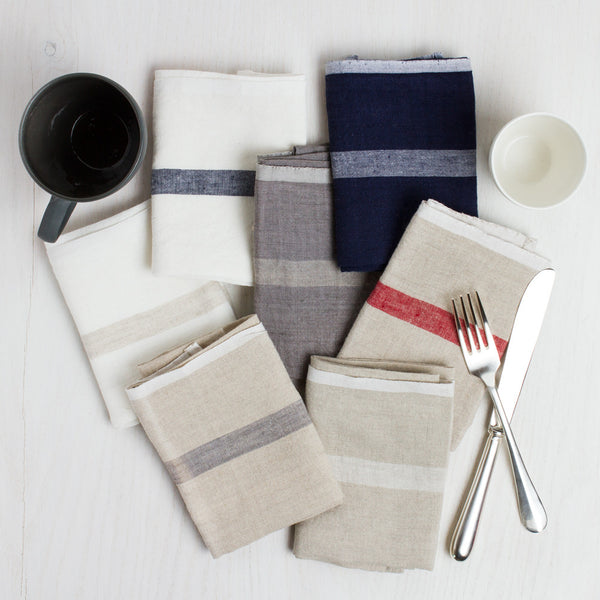 laundered linen stripe napkin set-kitchen & dining - table linens-couleur nature-grey/natural-k colette