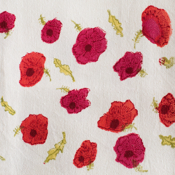 poppies red & green tea towel-kitchen & dining - tea towels & aprons-couleur nature-k colette