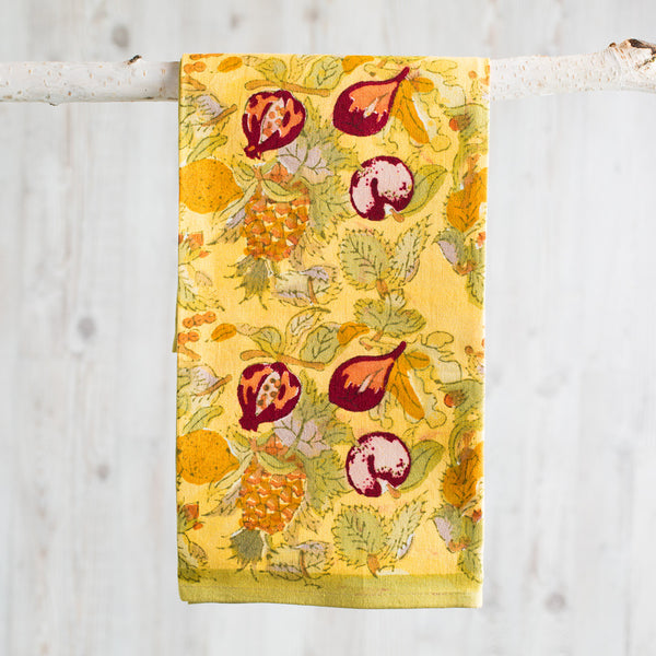 tutti frutti yellow & green tea towel-kitchen & dining - tea towels & aprons-couleur nature-k colette