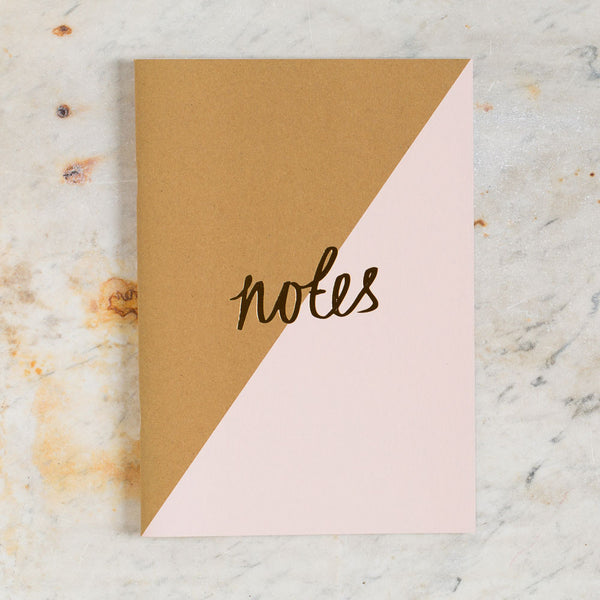 kraft & pink stripe notebook-desktop - journals - stylish-katie leamon-k colette