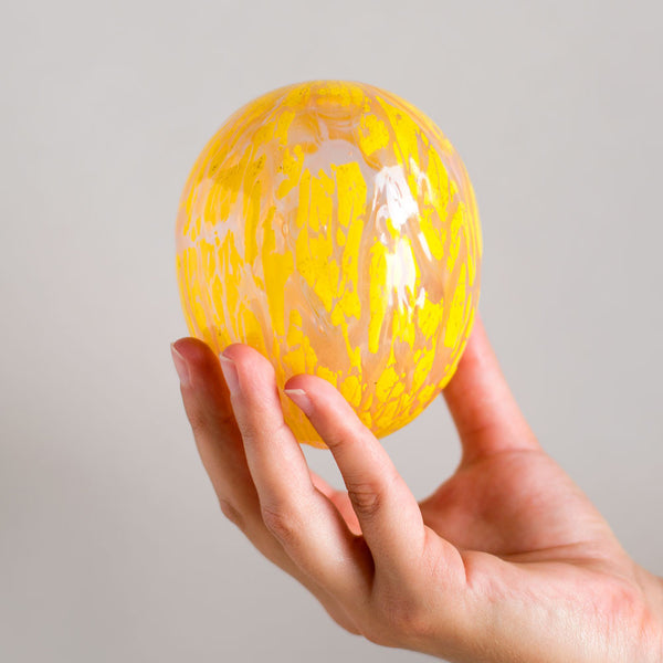 blown glass egg, pink & yellow-art & decor - objets - ooak-lbk studio-k colette