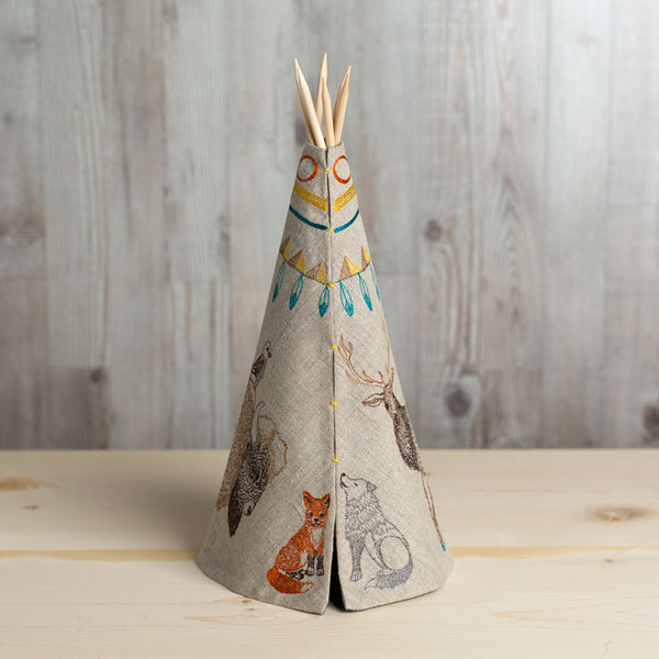 embroidered tipi-art & decor - decorative objects - baby - nursery decor-coral & tusk-small animal trail tipi-k colette