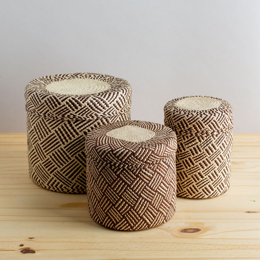 lidded africa iraca straw basket, toast-desktop - utility & storage - art & decor - decorative objects-guanábana-small-k colette