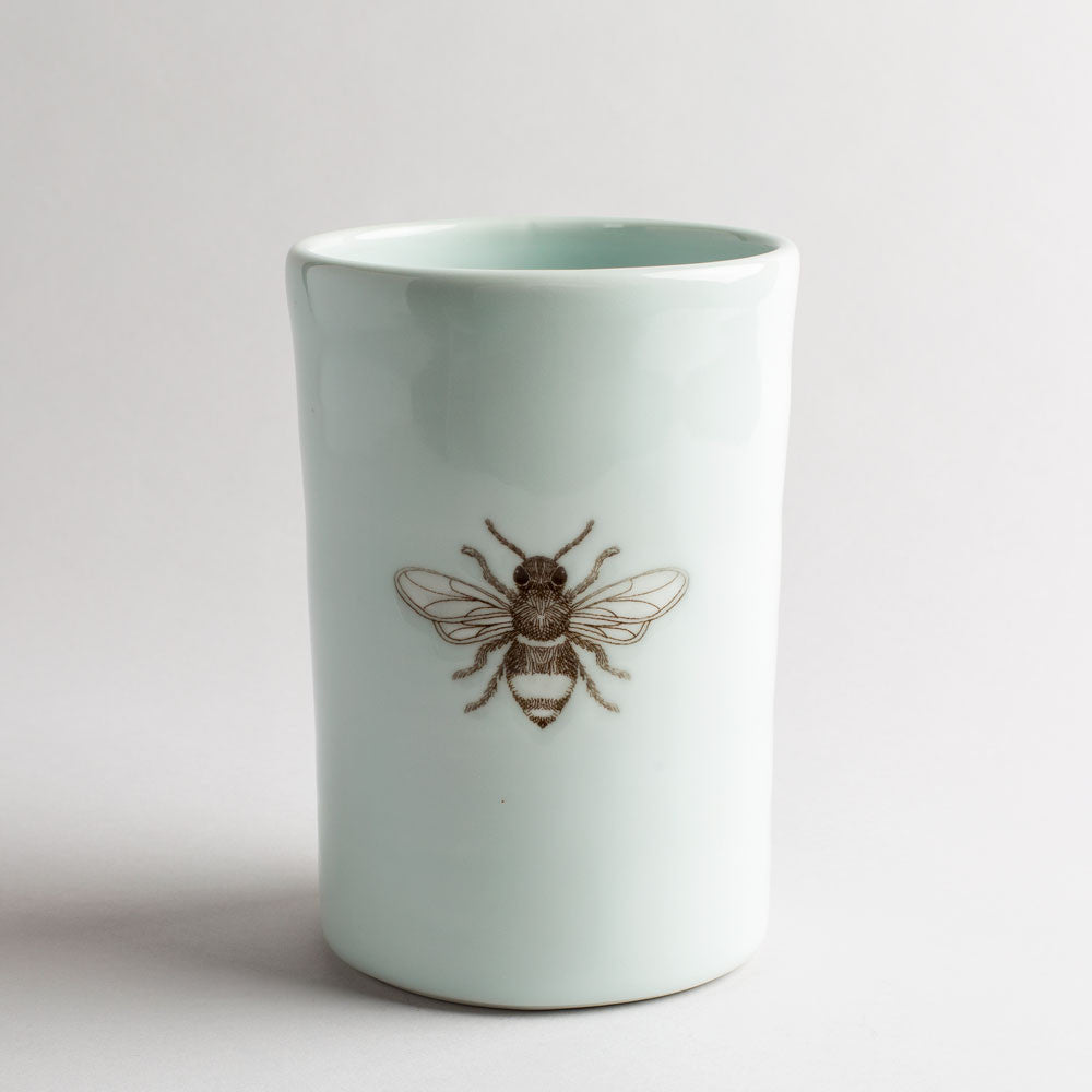 illustrated vase-art & decor - vases-skt ceramics-white bee-k colette