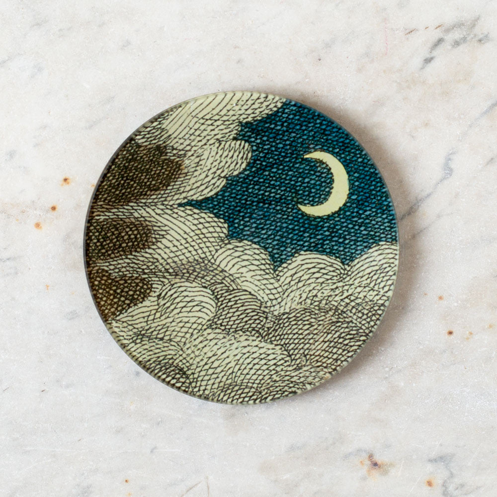 clouds & crescent moon plate-art & decor - decoupage-john derian-k colette