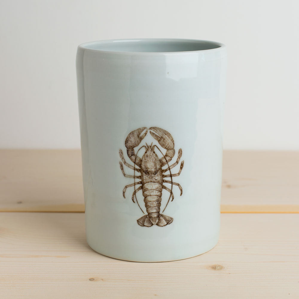 illustrated vase-art & decor - vases-skt ceramics-white lobster-k colette